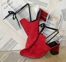 NEW Free People red Suede Lucite Heel Black Lace Up Backless Shoe 36/ 5.5-6