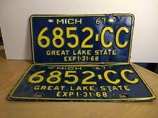 1967 Michigan Commercial Truck or Van License Plates - Set of 2 - 6852-CC