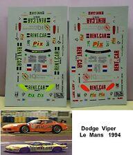 2    DECALS  DODGE  VIPER  RENT A CAR  LE MANS 1994   MODEL  1/43