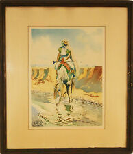 """Maurice ROMBERG DE VAUCORBEIL (French 1861-1943) Etching """"Cavalier a Cheval"""""""