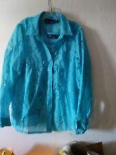 Susan GraverQVC 2Pc Set-Tank/Burn out/Lace Blouse/Shirt/Top-XL-Turquoise-EUC