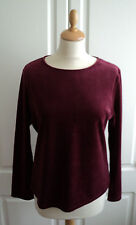 MARKS & SPENCER RELAX Ladies Red Wine Velour Pyjama Top Long Sleeve Size 12 New