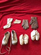 Lot Of Antique And Vintage Baby Shoes, Singles And Pairs, And Gloves