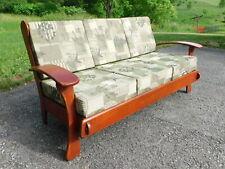 Vtg Mid Century Cushman Era Solid Maple Arts Crafts Swoop Paddle Arm Sofa Settee
