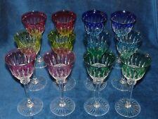 Série ancienne de 12 verres en couleurs à vin Roemer en cristal de St Louis