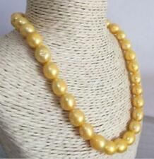 "18"" AAA 12-14 MM SOUTH SEA NATURAL GOLDEN  PEARL NECKLACE 14K GOLD CLASP"