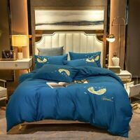 Luxury Cotton Embroidery Bedding Sets Duvet Cover Flat/fitted Sheet 4pcs