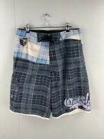 Quicksilver Mens Multicoloured Plaid Drawstring Closure Board Shorts Size 32