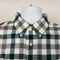 Jos A Bank Traveler Mens Gray White Green Big Check Dress Button Shirt Sz Large