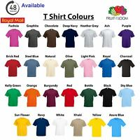 5 Pack Fruit of the Loom Tshirt 100% Cotton Plain Blank Mens Womens Tee Shirt's