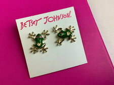 Betsey Johnson Gold & Green Frog Stud Earrings With Red Rhinestone Eyes