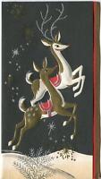 VINTAGE CHRISTMAS ART NOUVEAU DECO SILVER GOLD DEER DOE STAG MID CENTURY CARD