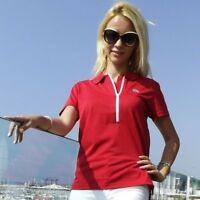 Lacoste Sport Women Solid Zip Neck Red Polo shirt Size 8 Tennis Light Weight