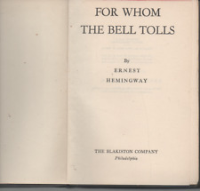 ERNEST HEMINGWAY FOR WHOM THE BELL TOLLS BLAKISTON REPRINT EDITION HARDBACK 1944