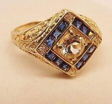 RETRO 14k YELLOW GOLD AQUAMARINE BLUE SAPPHIRE DIAMOND FILIGREE HALO RING 6-1/2