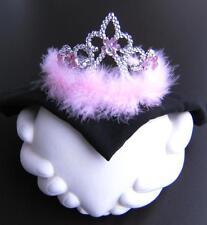 Diadème, couronne argent/rose marabout plumes,enfants,Princesse