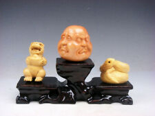 3 Japanese Boxwood Hand Carved *Tiger Buddha Snake* Netsuke w/ Wooden Stand #S7