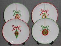 Set (4) Crate & Barrel CHRISTMAS ORNAMENTS Porcelain SALAD or DESSERT PLATES