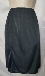 """Vassarette Women 22"""" M/40 Black Double Slit Lingerie Half Dress Slip"""