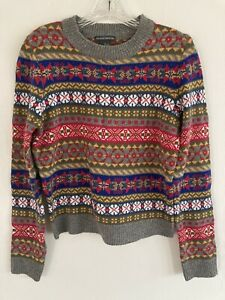 Chelsea + Theodore Fair Isle Knit Pullover Sweater $58 Size Medium