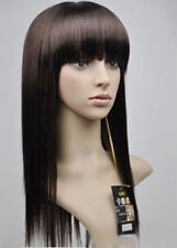 Fashion Long Brown Straight Bangs Women Lady Cosplay Party Hair Wig Wigs +Cap
