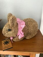 HAND CRAFTED PHILIPPPINES Wicker BROWN BUNNY/RABBIT EASTER/HOLIDAY DECOR NWT
