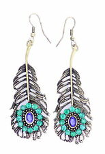 Vintage retro style large peacock eye feather dangle earrings with crystal