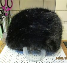 Black Fake Fur Russian Hat, George One Size