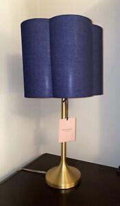 Rare Kate Spade Scalloped Shaped Lamp w/ Shade Navy Blue NWT