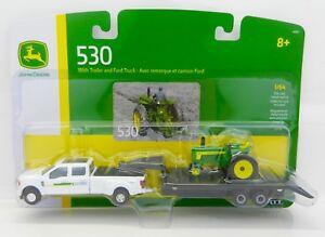 ERTL 1:64 JOHN DEERE Ford F-350 DUALLY Truck w/GOOSENECK TRAILER & 530 Tractor