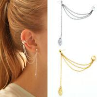 Orecchino Catena foglia accessorio bigiotteria clip orecchio pendente donna
