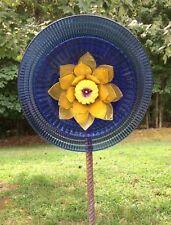 Yellow Lotus & Blue Spiral Glass Garden Flower Repurposed Suncatcher Yard Art
