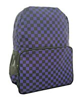 CHECKER BLACK PURPLE Backpack Rucksack School College Check EMO GOTH Laptop Bag