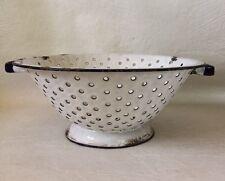 Vintage Porcelain Enamel Metal Colander Strainer 10 1/2 inches Diameter Chippy