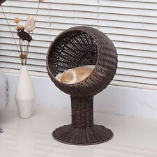 "28"" Rattan Wicker Elevated Pet Bed Cat Cave Condo Hooded Cushion Scratch House"