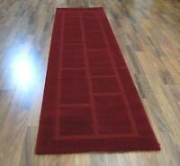 THICK SOFT DARK RED MODERN BLOCKS PATTERN LONG RUNNER RUG 60x230cm FREE DELIVERY