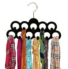 Black Velvet Scarf Necktie Closet Hanger 11 Rings With Hooks 3-Pack