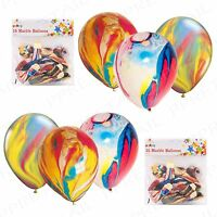 10 PCS Rainbow Birthday Party Balloons FUNKY COLOURED Marble Effect Decoration