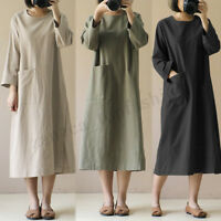 Plus S-5XL Womens Long Sleeve Casual Long Shirt Dress Oversize Kaftan Midi Dress