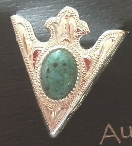 "New Western Austin Accent Collar Tips Silver With Blue Stone 1 1/4"" x 1 1/2"""