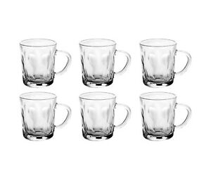 Set Of 6 Coffee Mugs Tea Cups Glass Latte Cappuccino Hot Drink Glass Clear 220ml