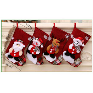 4PCS Christmas Tree Hanging Santa Stocking Sock Candy Bags Gift Xmas Tree ZH