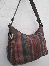 -AUTHENTIQUE sac à main  en cuir et toile  FOSSIL  TBEG vintage bag