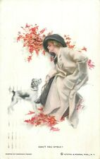 "Harrison Fisher signed postcard "" Can`t you speak ?"" elegant woman & dog"