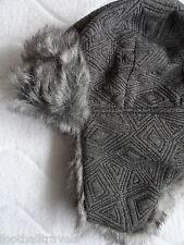 Accessorize Faux Fur Trapper Hat Charcoal Tuque Mutze Tags Womens H10