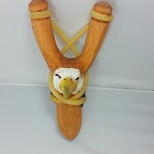 Eagle Carved Wood Toy Slingshot Real Leather Pouch or Pocket Sling Shot