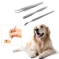 New listing 3Pcs/Set Pet Dog Cat Tick Remover Kit Stainless Steel Tweezers Bent Care ToKh