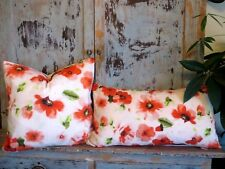 RED FLORAL PILLOW COVERS 100% COTTON SQUARE PILLOW LUMBAR PILLOW SET OF TWO
