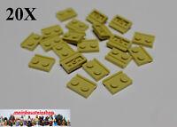 20X Lego® 32028 Platte Plate 1X2 modifiziert m. Führungsschiene Beige Tan NEU