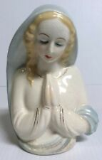 Madonna Virgin Mary Vase Praying Planter Blue White
